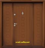 Двукрила входна врата Т-712, цвят Златен дъб