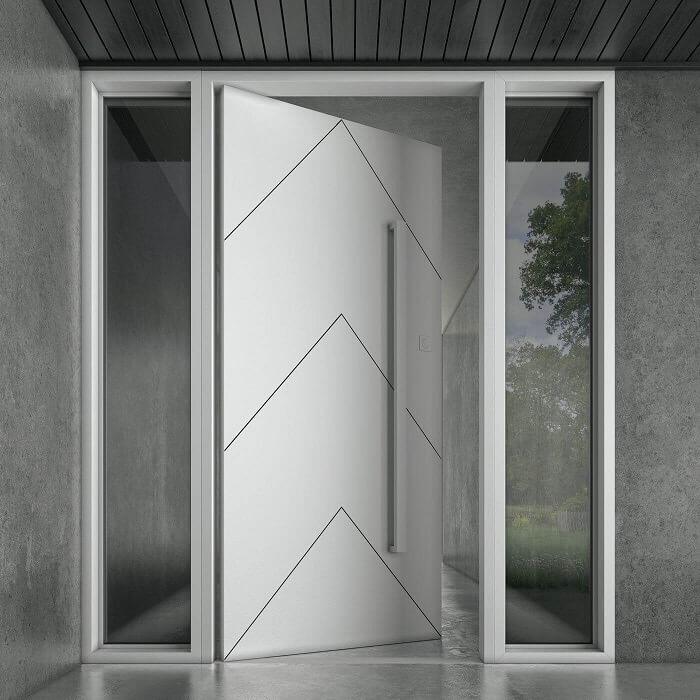 Бяла модерна метална входна врата